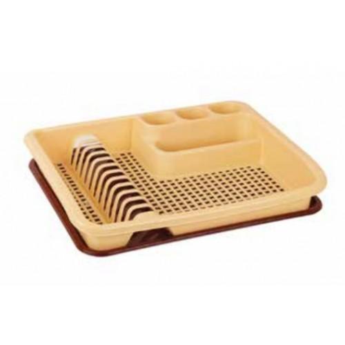 Сушка для тарелок одноярусная большая Elif Бежево-коричневая