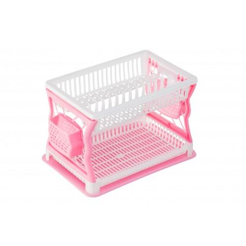 Сушка для тарелок двухъярусная R-plastik Бело-розовая