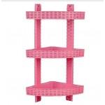 Полка угловая R-plastic Ротанг 3 яруса Розовый