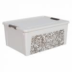 Контейнер Алеана Smart box с декором Home 7,9 л Белая роза-Какао