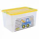 Контейнер Алеана Smart box с декором My car 27 л Прозрачный-Жёлтый