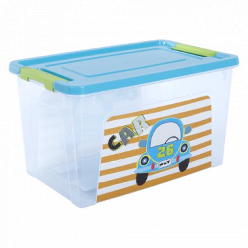 Контейнер Алеана Smart box с декором My car 3,5 л Прозрачный-Бирюзовый