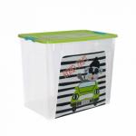 Контейнер Алеана Smart box з декором My car 40 л Прозорий-Оливковий