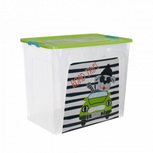 Контейнер Алеана Smart box с декором My car 40 л Прозрачный-Оливковый