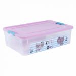 Контейнер Алеана Smart box с декором Pet Shop 14 л Прозрачный-Розовый