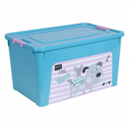 Контейнер Алеана Smart box с декором Pet Shop 27 л Бирюзовый-Бирюзовый
