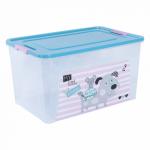 Контейнер Алеана Smart box с декором Pet Shop 27 л Прозрачный-Бирюзовый