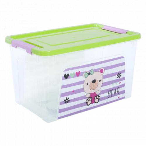 Контейнер Алеана Smart box с декором Pet Shop 3,5 л Прозрачный-Оливковый
