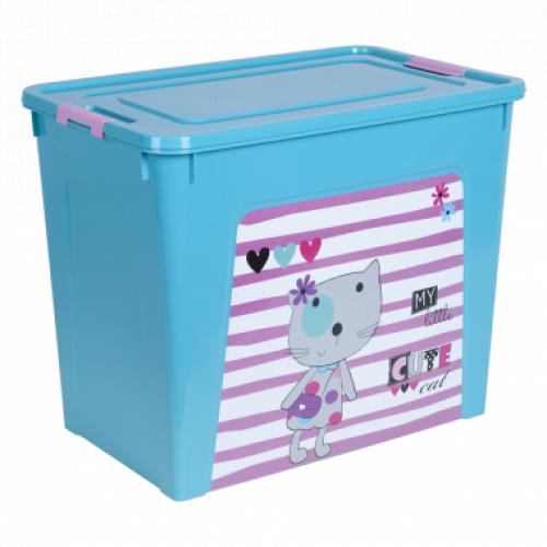 Контейнер Алеана Smart box с декором Pet Shop 40 л Бирюзовый-Бирюзовый