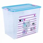 Контейнер Алеана Smart box с декором Pet Shop 40 л Прозрачный-Бирюзовый