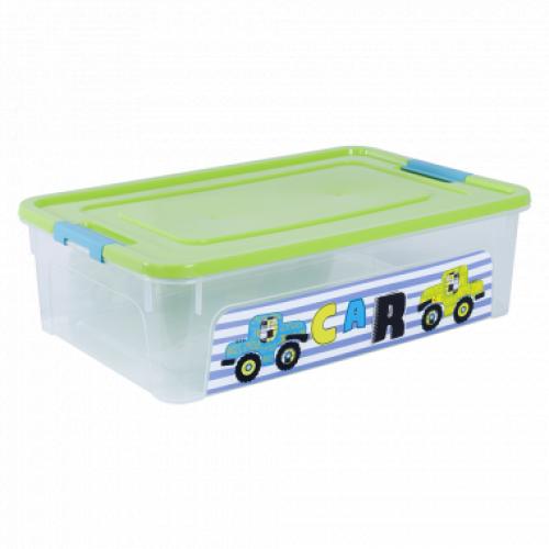 Контейнер Алеана Smart box с декором My car 14 л Прозрачный-Оливковый