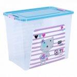Контейнер Алеана Smart box з декором Pet Shop 40 л Прозорий-Бірюзовий