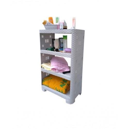 Етажерка Plasticscraft Ротанг 4 полиці Білий