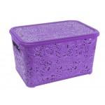 Корзина с крышкой для хранения Ажур 12 л Фиолетовый