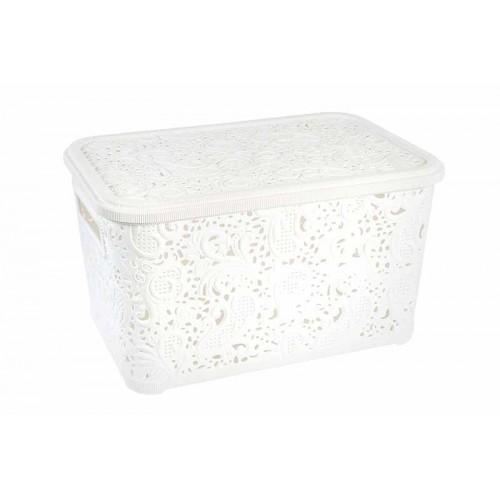 Корзина с крышкой для хранения Ажур 4,7 л Белый